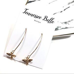 Gold Bee Wire Drop Minamlist Boutique Earrings
